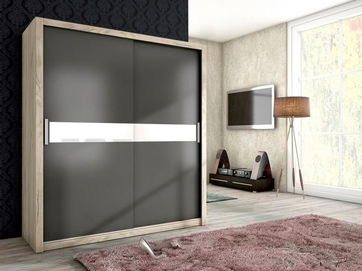 Štýlová šatníková skriňa ADEL 180 san remo/grafit mat + biela sklo