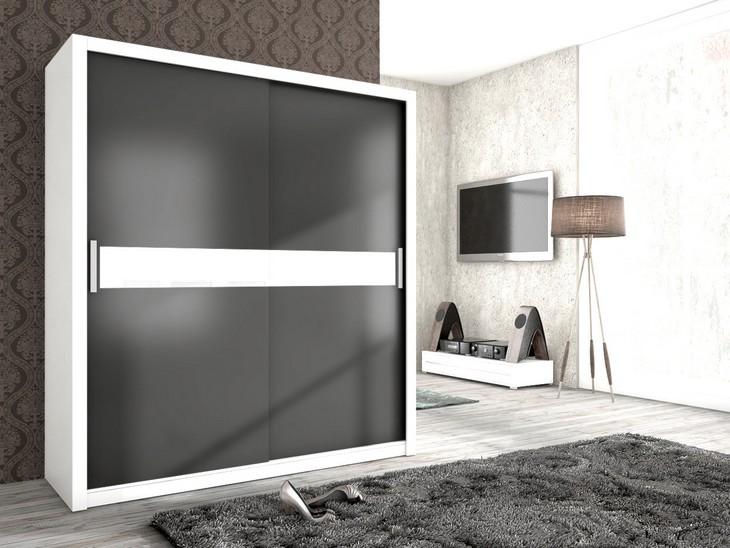 Moderná šatníková skriňa ADEL 180 Biely/grafit mat + biela sklo