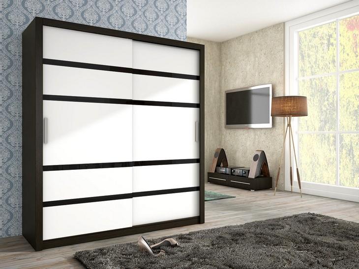 Trendy šatníková skriňa BARI 180 wenge/Biely mat + čierna sklo