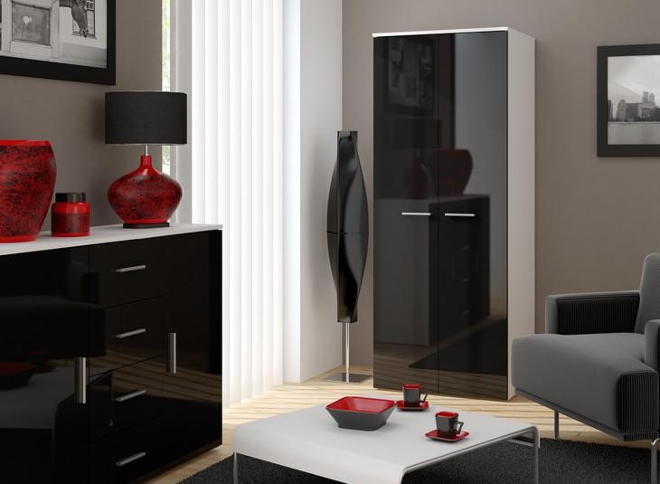 Luxusná skriňa 2D CAMA A Biely / Čierny lesk