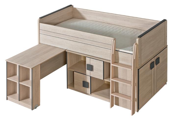 GM19 Poschodová posteľ s písacím stolom a skriňou GUMI