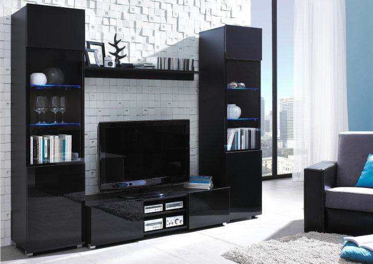 Moderný nábytok do obývacej izby DANGELO zostava 4 Čierny