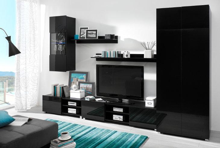 Lacný nábytok do obývacej izby DANGELO zostava 3 Čierny
