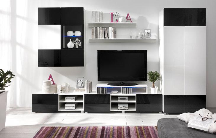 Moderný nábytok GORDIA 6 biely+Čierny
