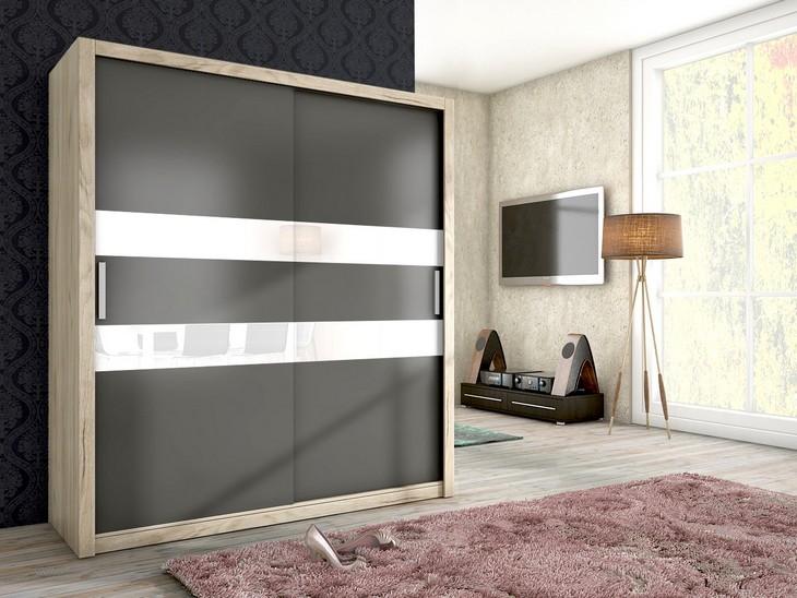 Trendy šatníková skriňa JENA 180 san remo/grafit mat + biele sklo