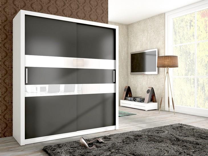 Moderná šatníková skriňa JENA 180 Biely/grafit mat + biele sklo