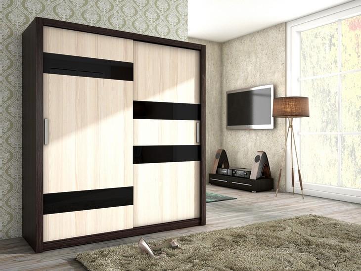 Luxusná šatníková skriňa s posuvnými dverami KIKA 180 canterbury/jaseň + čierne sklo
