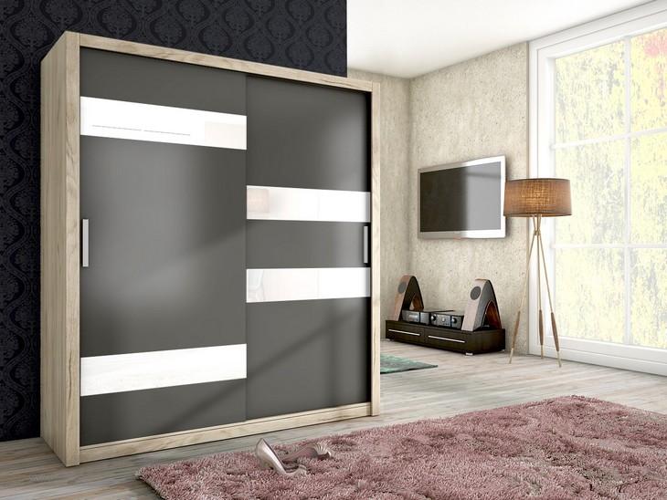 Moderná šatníková skriňa s posuvnými dverami KIKA 180 san remo/grafit mat + biele sklo