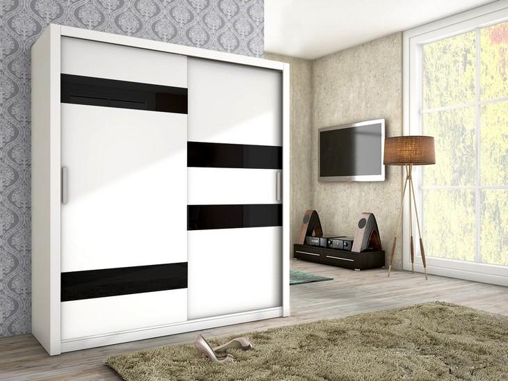 Posuvná skriňa KIKA 180 Biely mat + čierne sklo