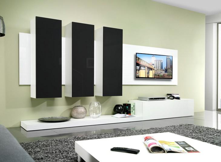 Obývacia stena LIFE B biely/čierny lesk