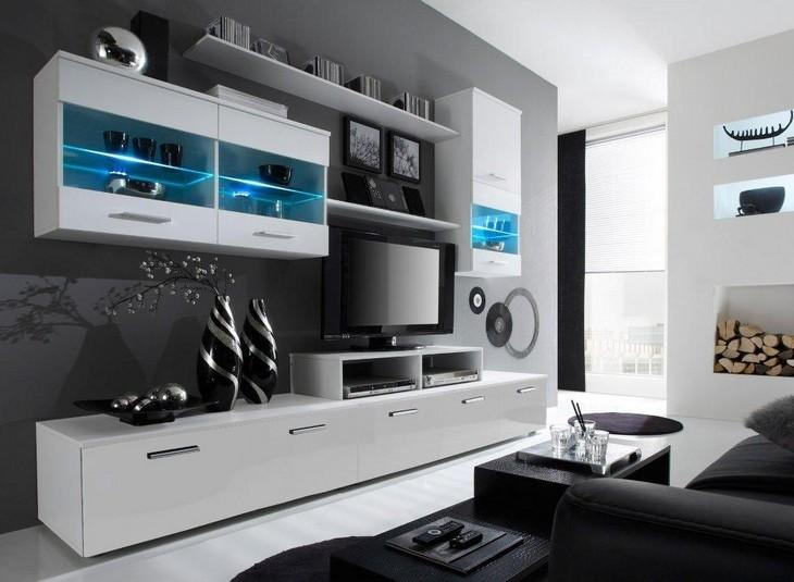 Obývacia stena LOGO 2C biely/biely lesk