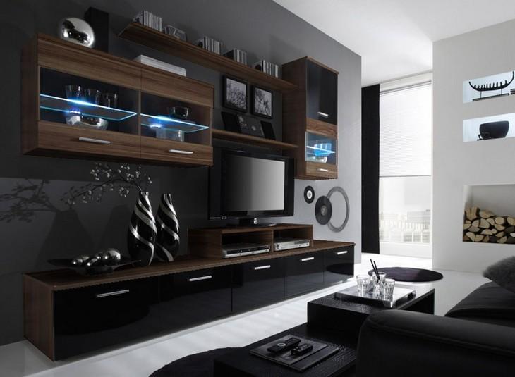 Obývacia stena LOGO 2E slivka/čierny lesk