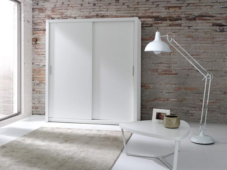 Lacná šatníková skriňa LONDON 180 biely mat