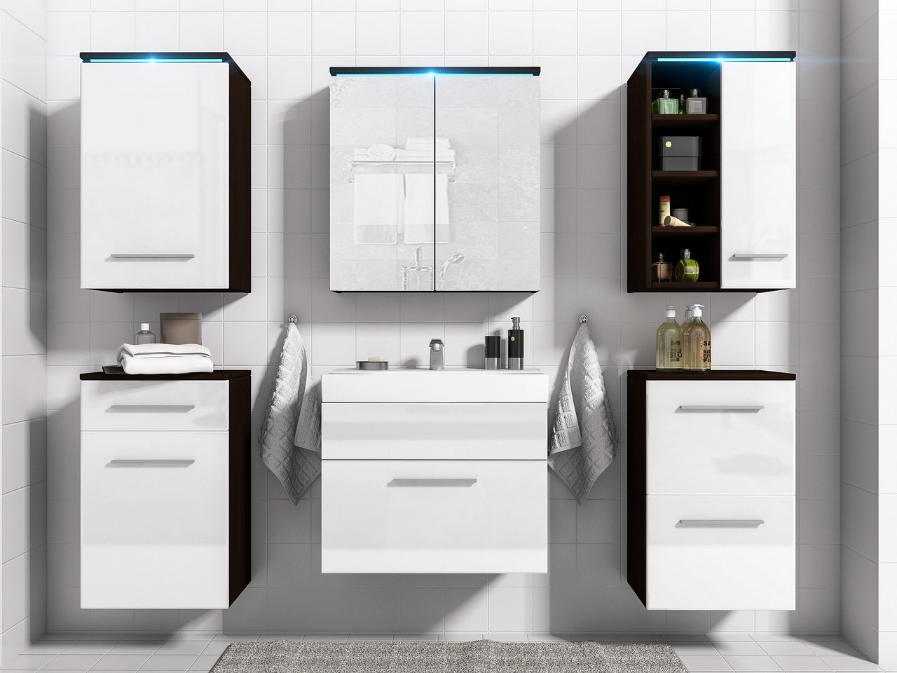 Kúpeľňa s LED osvetlením MEGI 10 Wenge / Biely lesk
