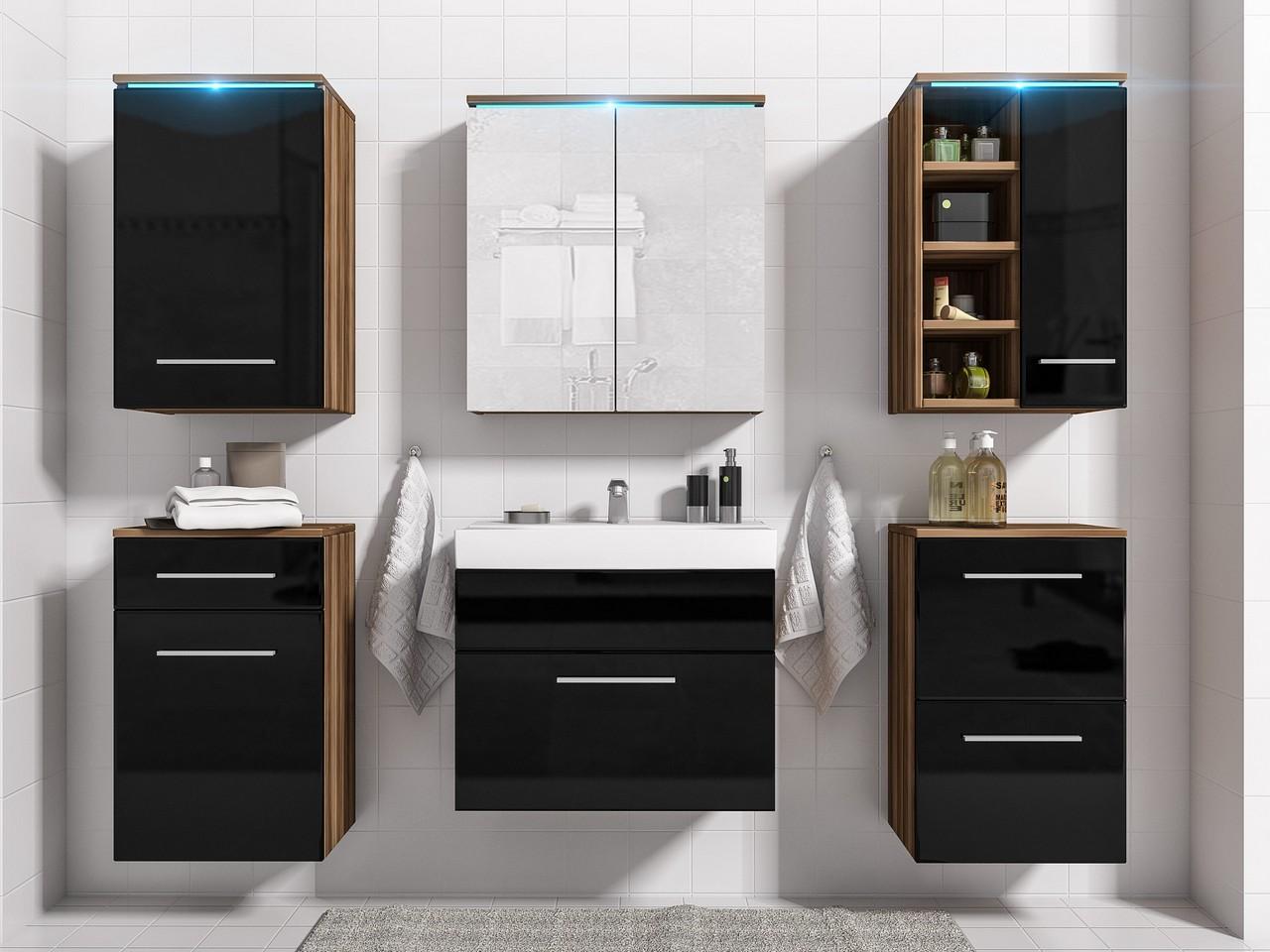 Lacný kúpeľňový nábytok MEGI 11 Slivka / Čierny lesk