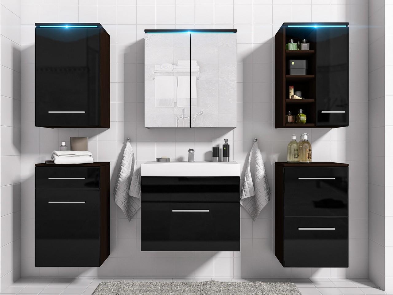 Kúpeľňová zostava MEGI zostava 4 Wenge / Čierny lesk