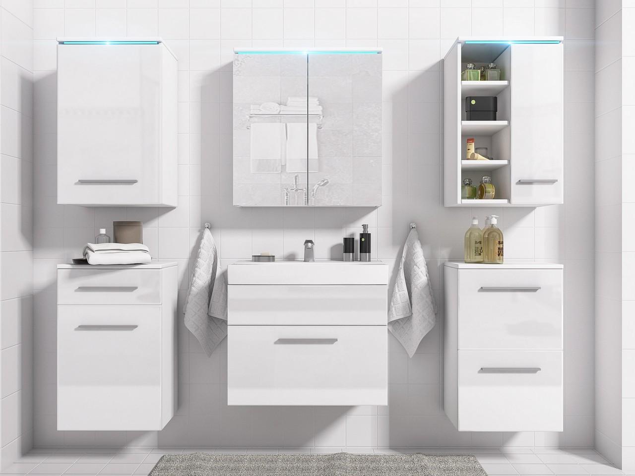 Elegantná kúpeľňa MEGI 5 Biely / biely lesk