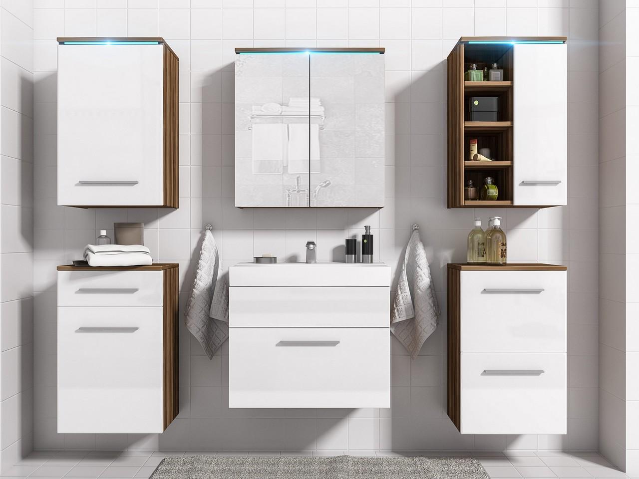 Moderný kúpeľňový nábytok MEGI 8 Slivka / Biely lesk
