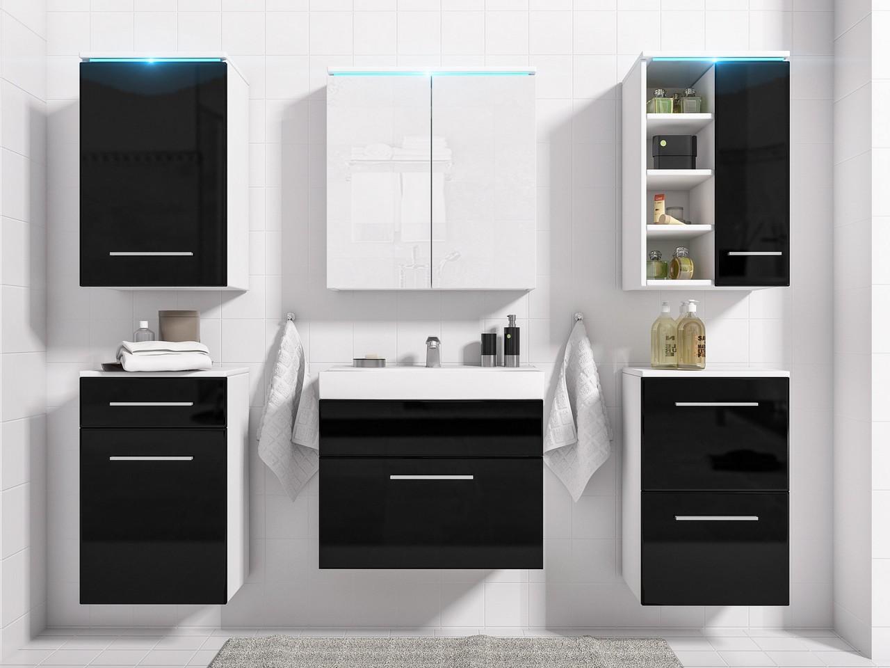 Kúpeľňový nábytok MEGI zostava 9 Biely / Čierny lesk