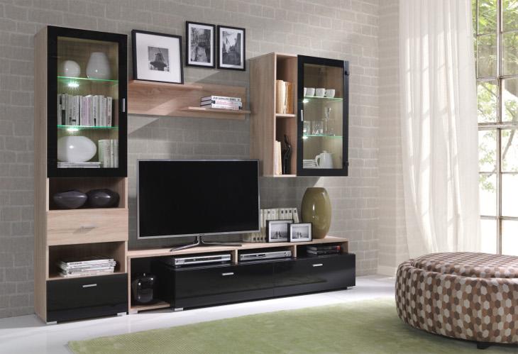 Luxusná obývacia stena OMEGA Zostava 1 sonoma
