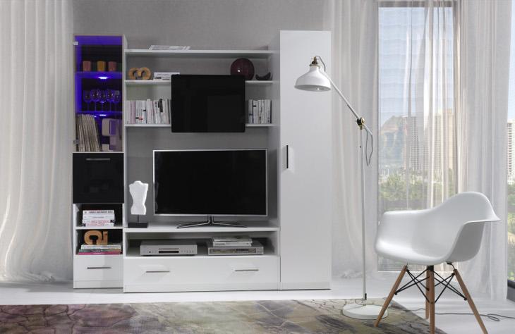 Moderná a biela obývacia stena PRESTO 200