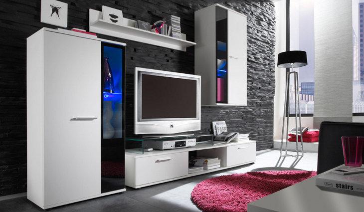 Moderná a lacná obývacia stena FIESTA biela