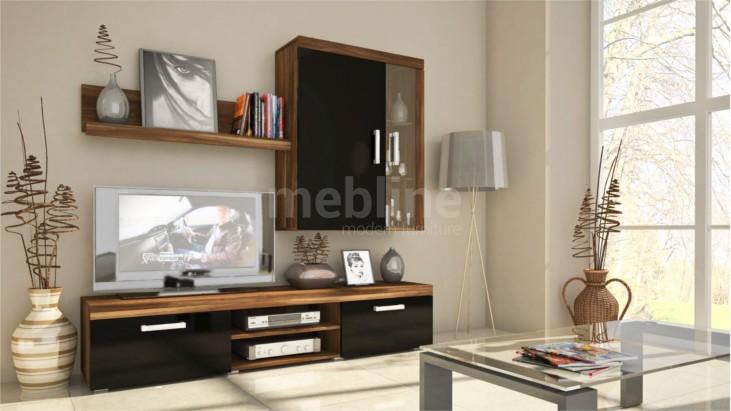 Elegantný nábytok do obývacej izby SAMBA MINI Zostava 8 Slivka/Čierny lesk