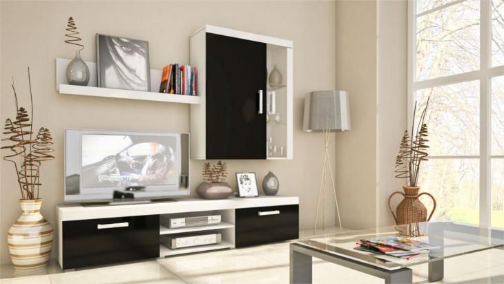 Nábytok do obývacej izby SAMBA MINI Zostava 9 Biely/Čierny lesk