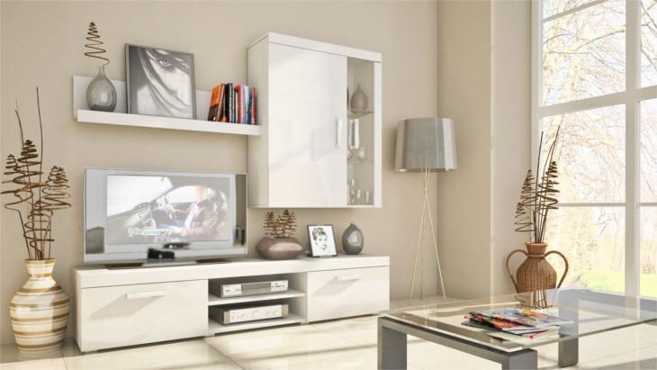 Lacný obývačkový nábytok SAMBA MINI Zostava 10 Biely/Biely lesk