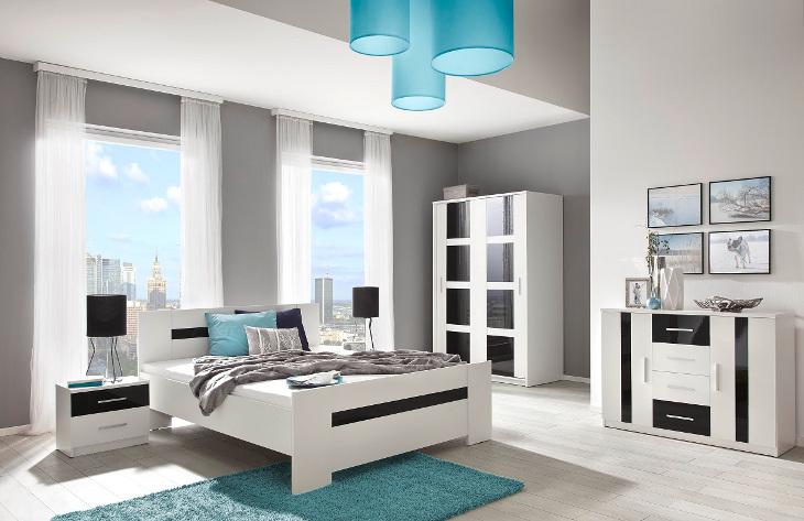 Moderná a biela spálňa PRESTO zostava 1