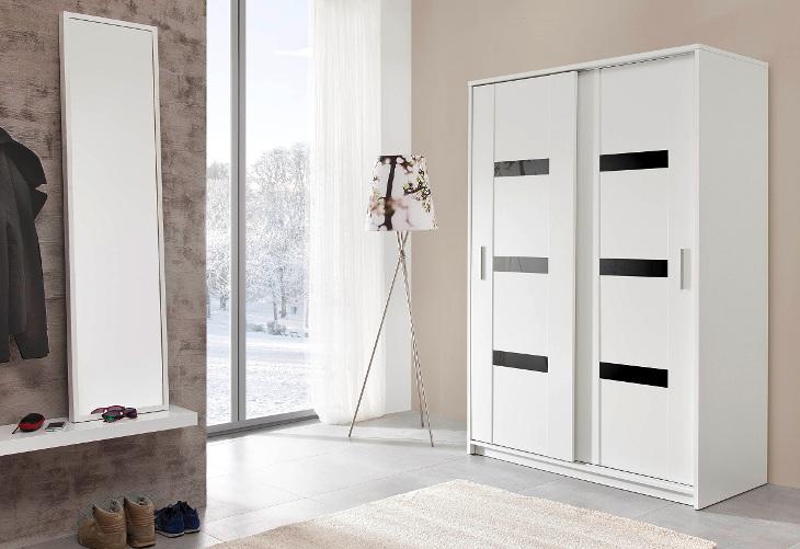PR1 Moderná a biela šatníková skriňa PRESTO 140