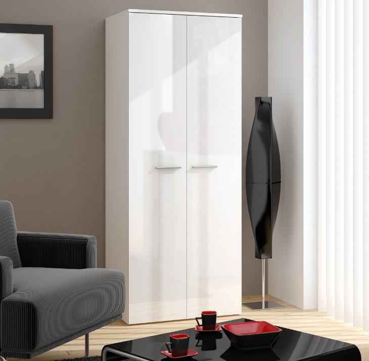 Moderná skriňa 2D 2D VIGO Biely / Biely lesk