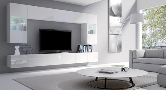 Biely nábytok v obývacej izbe